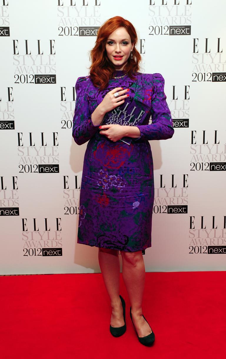 The 2012 Elle Style Awards Christina Hendricks With Her Award For Best Tv Star
