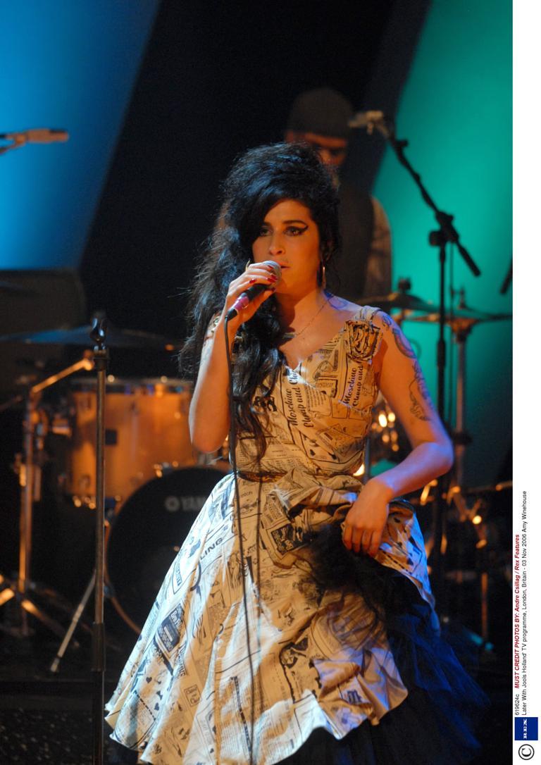 Amy Winehouse Newsprint Dress