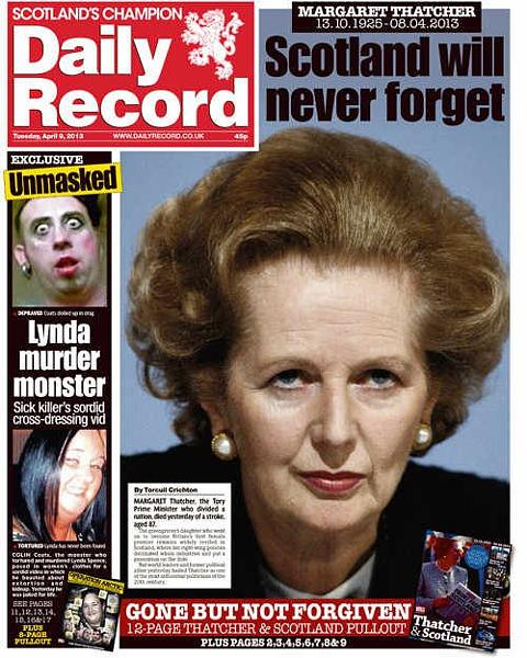 newspaper front pages margaret thatcher