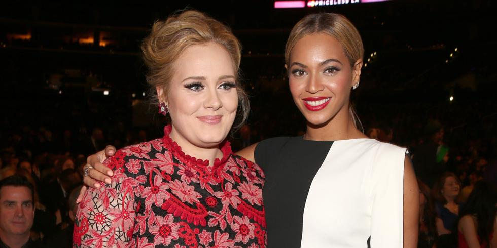 Singers Adele and Beyonce attends the 55th Annual GRAMMY Awards at STAPLES Center on February 10, 2013 in Los Angeles, California