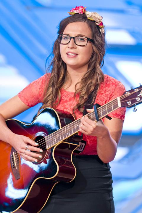 Abi Alton performing on The X Factor 2013.