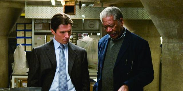 Christian Bale, Morgan Freeman in Batman Begins