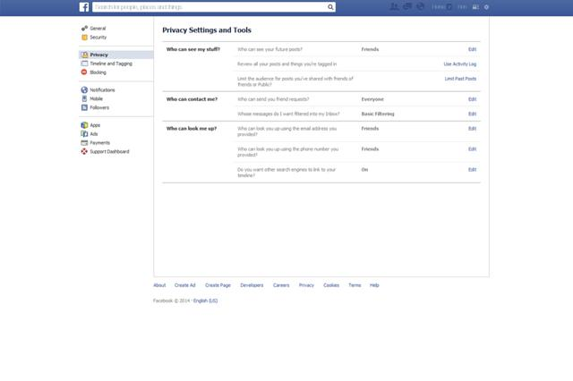 Facebook privacy settings page
