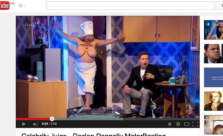 Bare-boobed lady surprises Dec in Celebrity Juice skit ...
