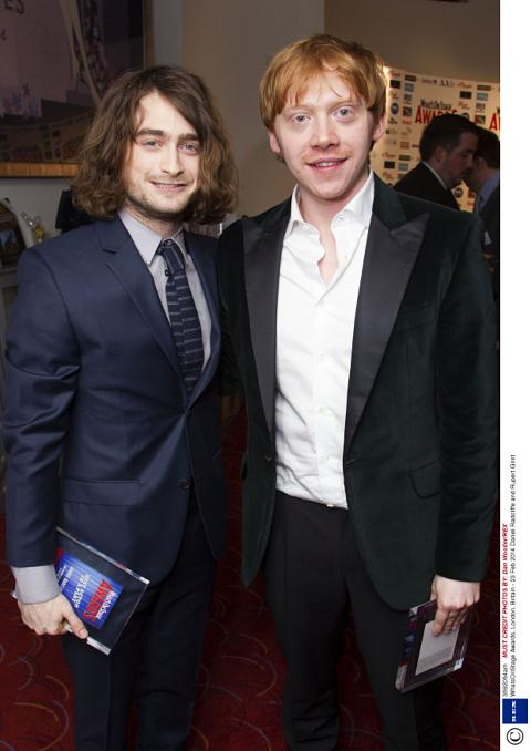 Daniel radcliffe collects theatre award in long hair extensions whatsonstage awards london britain 23 feb 2014 daniel radcliffe rupert grint 23 pmusecretfo Choice Image