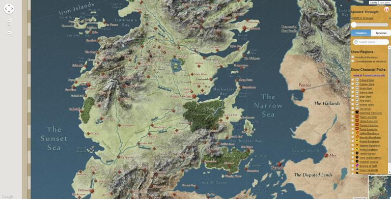 Game of thrones interactive westeros map using google unveiled the game of thrones interactive map gumiabroncs Choice Image