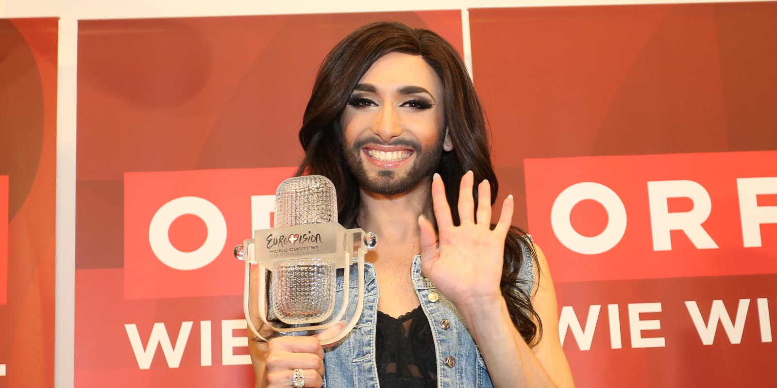 Conchita wurst and dana international in eurovision first star - Vienna Austria May 11 Conchita Wurst Attends A Press Conference After Winning The