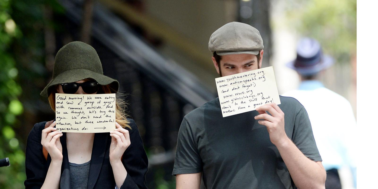 pics Andrew Garfield and Emma Stone Use Paparazzi to Promote Charities