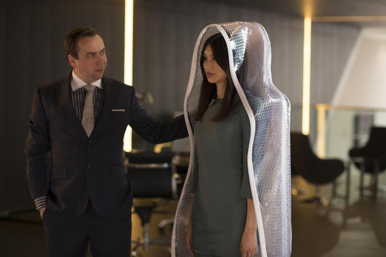Dan Tetsell as the salesman & Gemma Chan as Anita in Humans episode 1