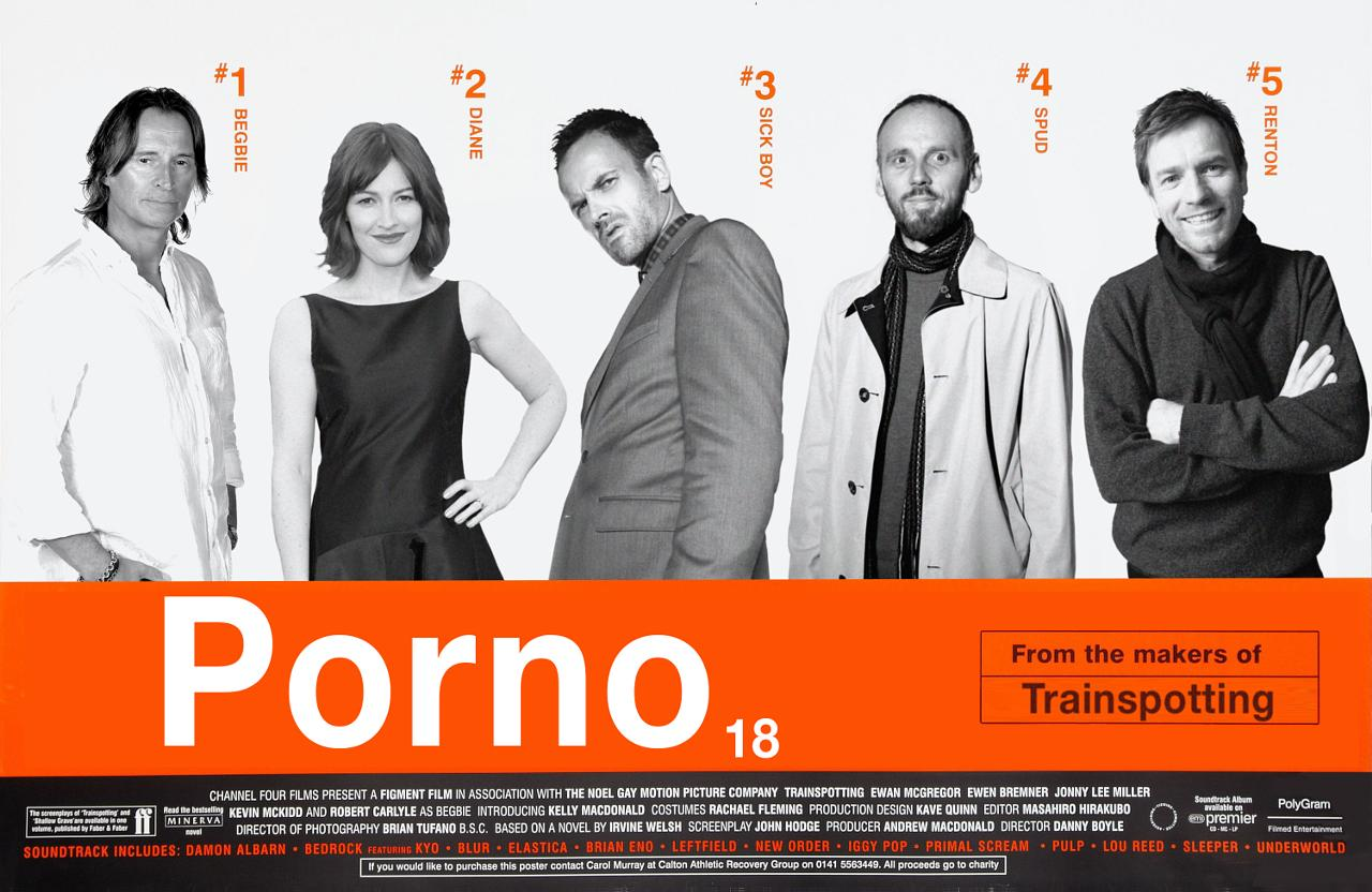 Trainspotting 2 ('Porno') mock poster featuring the original cast of Trainspotting