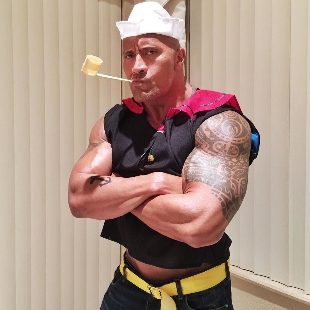 Dwayne Johnson dressed up as Popeye for Halloween and his costume ...