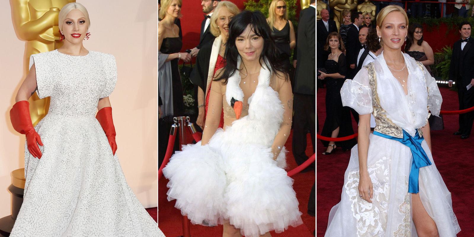 11 worst oscar dresses of all time from lady gaga to uma