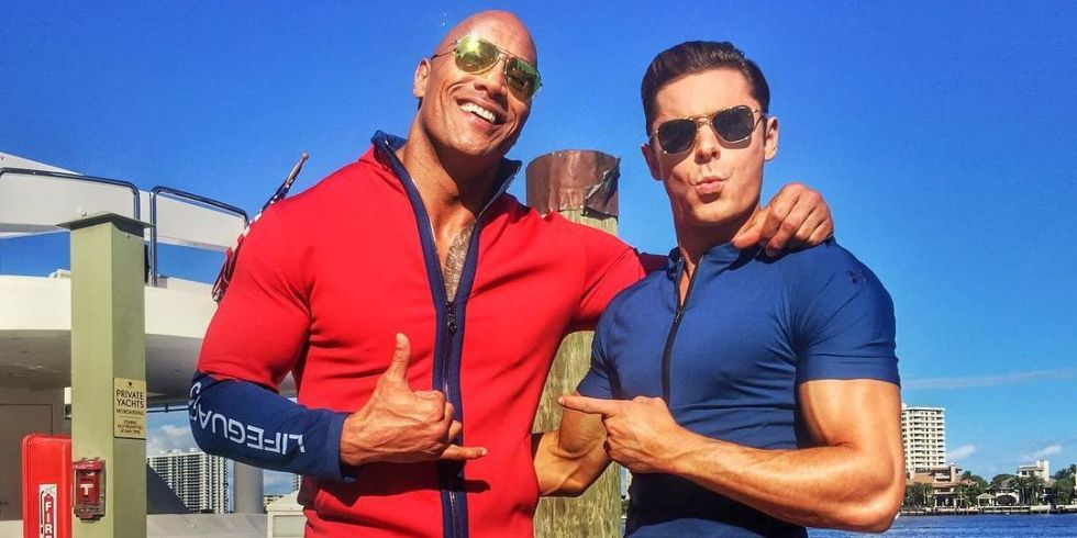 Baywatch movie reboot cast trailer plot release date and dwayne johnson and zac efron in first baywatch picture m4hsunfo