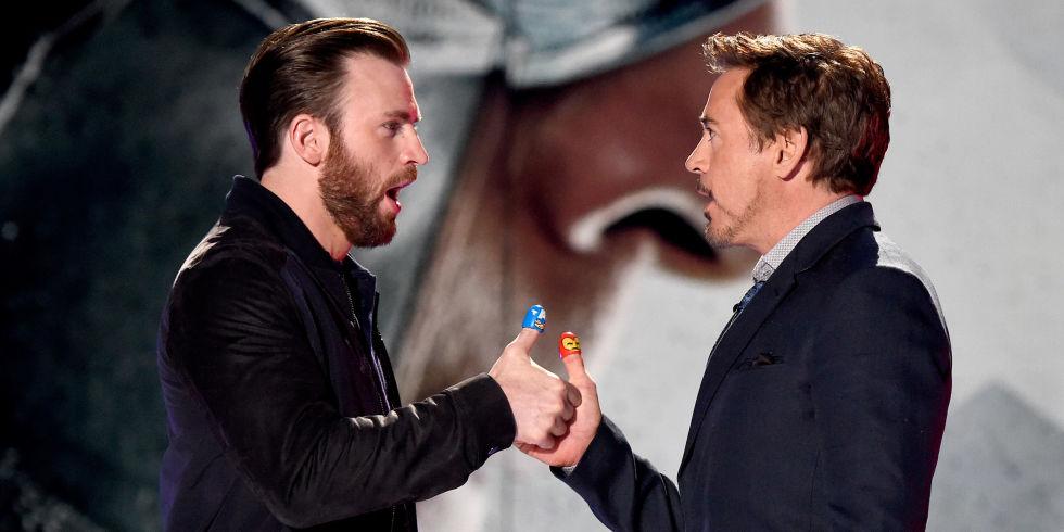 Chris Evans And Robert Downey Jr Onstage During Nickelodeons 2016 Kids Choice Awards