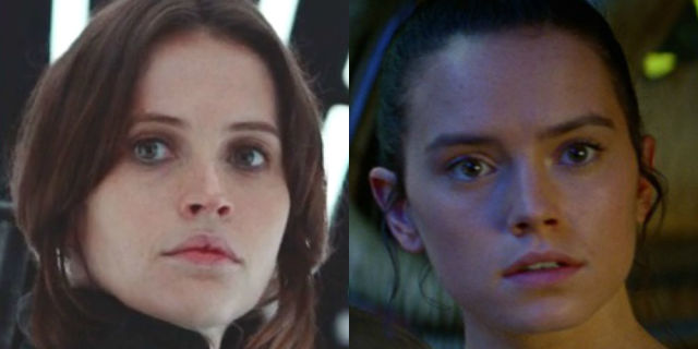 Felicity Jones in Rogue One / Daisy Ridley in The Force Awakens