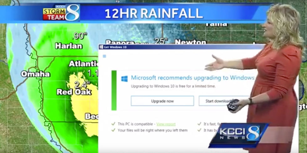 windows 10 upgrade prompt interrupts a live tv weather report in