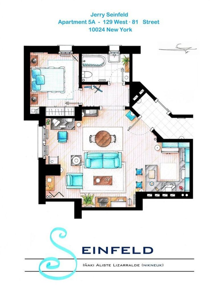 Tv floorplans how the apartments in your favourite shows are seinfeld jerrys apartment malvernweather Gallery