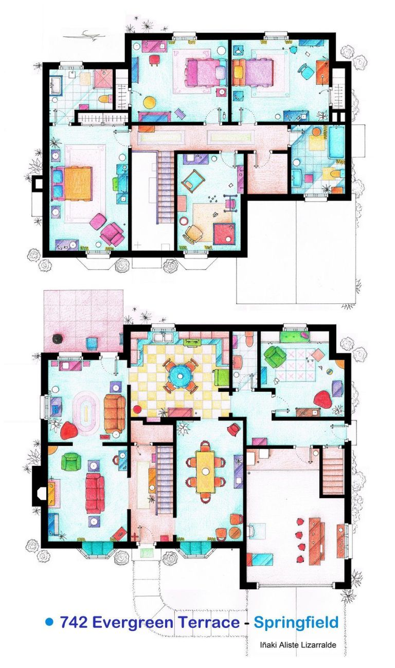tv floorplans how the apartments in your favourite shows are tv floor plans the simpsons