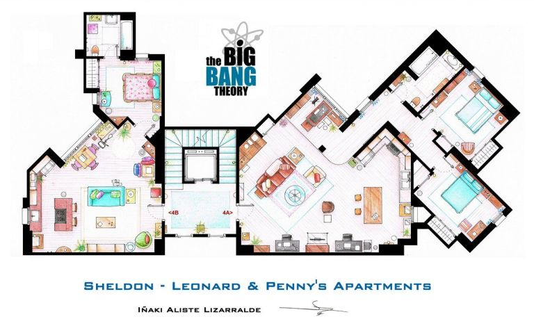 Tv floorplans how the apartments in your favourite shows are the big bang theory sheldon leonard and pennys apartments malvernweather Image collections