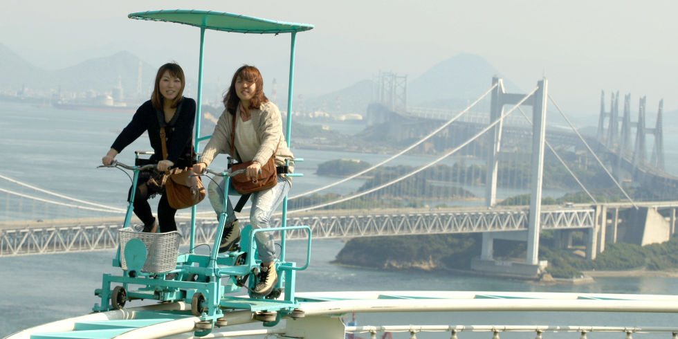 This Pedalpowered Rollercoaster In Japan Looks Truly Terrifying - Pedal powered skycycle rollercoaster japan amazing