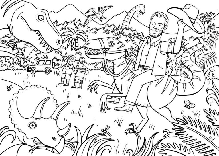 chris pratt colouring book jurassic world - Jurassic Park Coloring Book