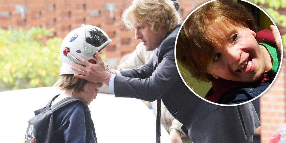 Jacob Tremblay, Owen Wilson, on the set of movie Wonder