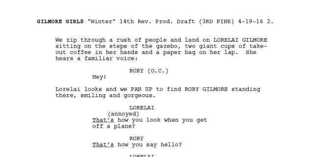 Read the first page of the Gilmore Girls revival\'s script right here