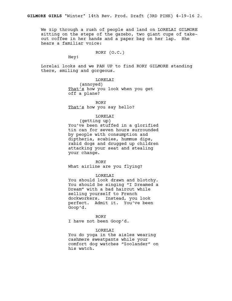 Read The First Page Of The Gilmore Girls Revivals Script Right Here