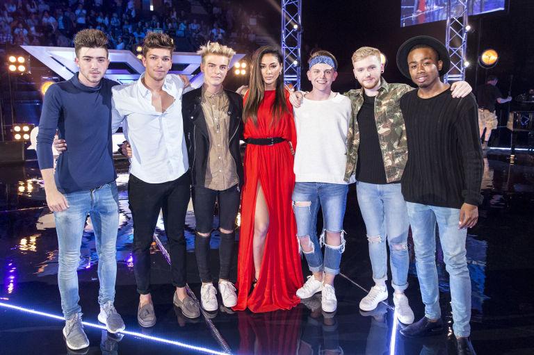 The X Factor Six Chair Challenge Nicole Scherzinger With Top Six Boys Christian Burrows