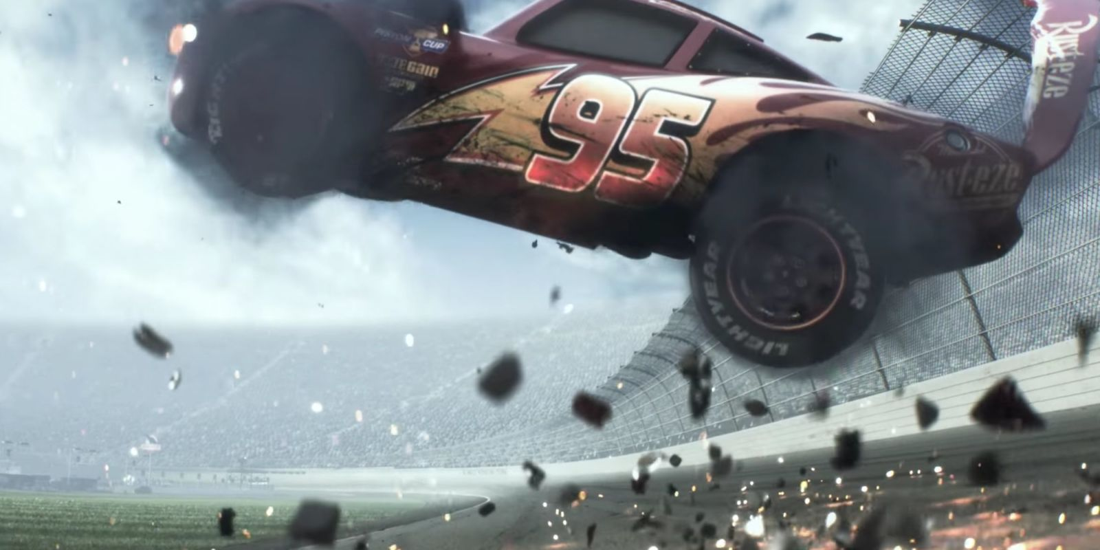 Lightning crashes (literally) in Disney and Pixar\'s Cars 3 trailer