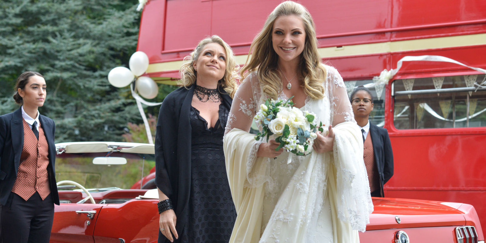 Ronnie And Roxy Mitchell Arrive At The Wedding Venue In Eastenders