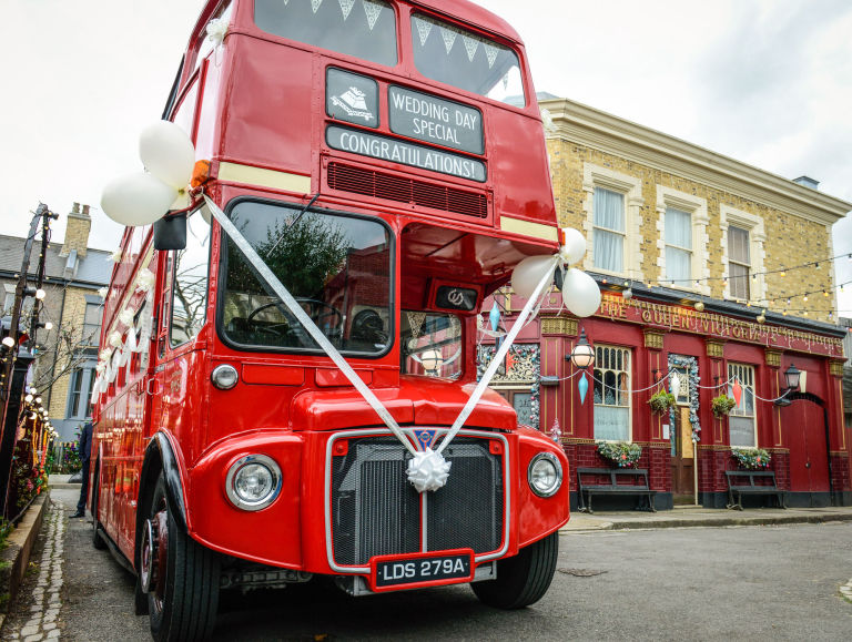 A Routemaster Arrives To Transport Ronnie Mitchell S Wedding Guests In Eastenders