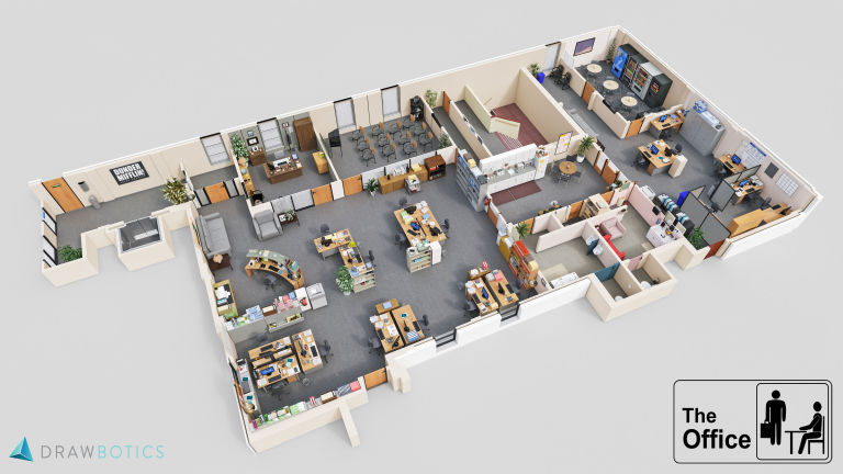 Tv floorplans how the apartments in your favourite shows are 8 the office us dunder mifflins office malvernweather Image collections