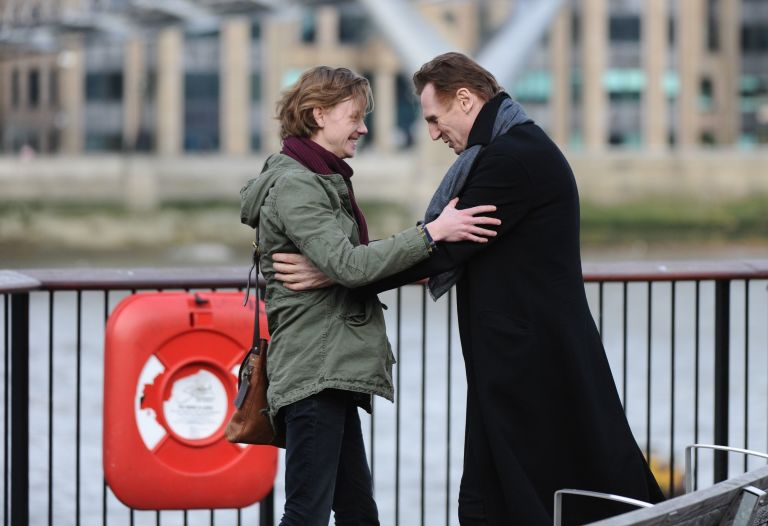 Thomas Brodie-Sangster, Liam Neeson filming Love Actually