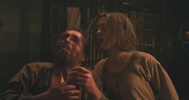 Arya Stark and Ser Meryn Trant in Game of Thrones