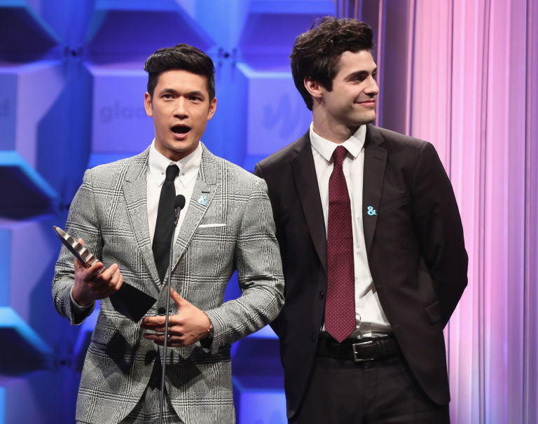 Harry Shum Jr and Matthew Daddario at the 28th GLAAD Media Awards