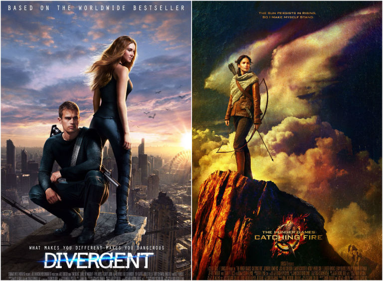 Divergent and The Hunger Games: Catching Fire posters