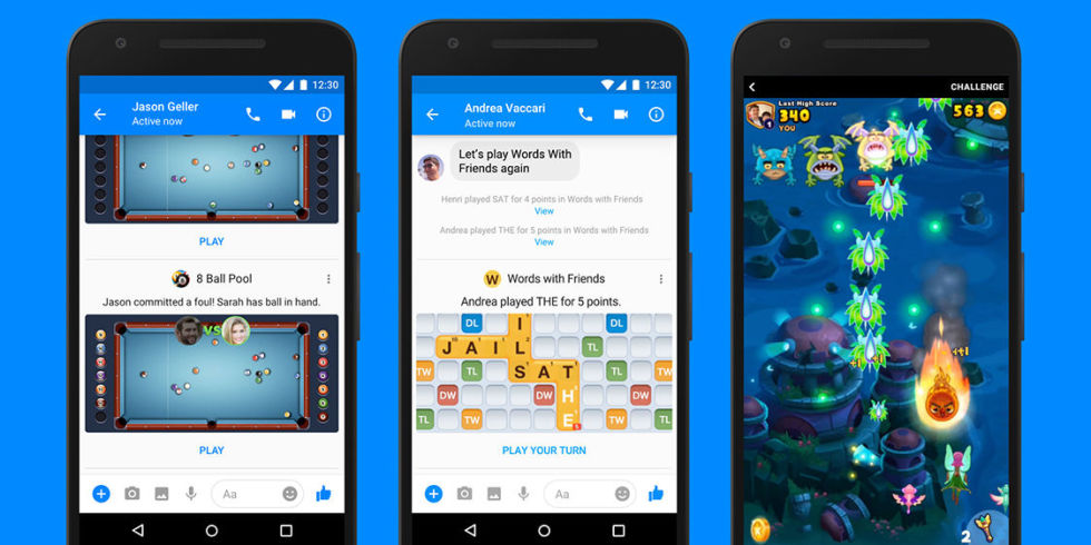 Facebook Messenger games of 8 Ball Pool, Words with Friends and Everwing