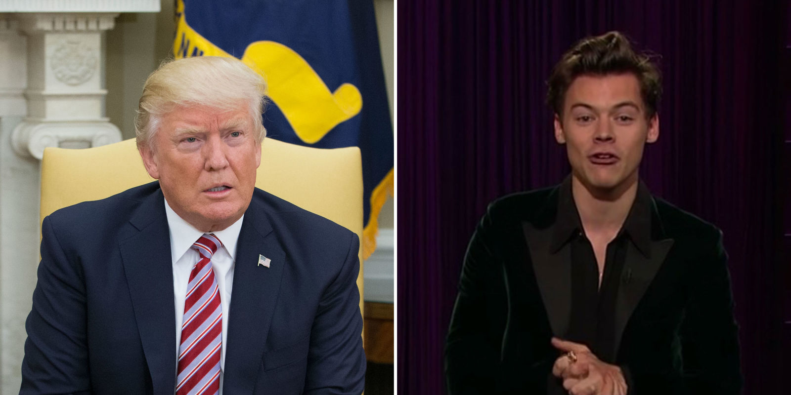 harry styles hits out at donald trump in late late show opening
