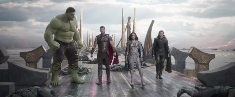 Photo showing Hulk, Thor, Valkyrie and Loki on the bridge of Asgard