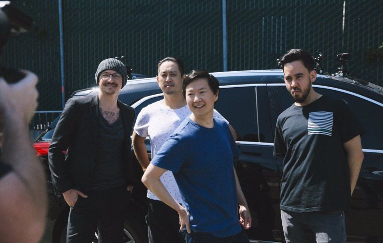 Linkin Park filming Carpool Karaoke with Ken Jeong