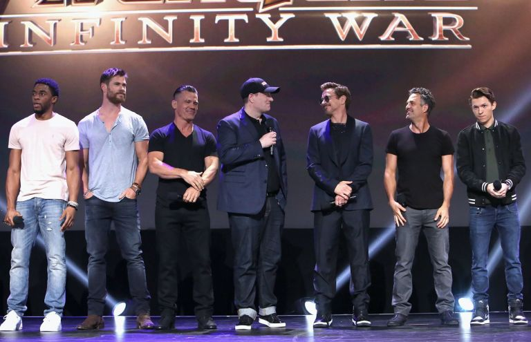 Chadwick Boseman, Chris Hemsworth, and Josh Brolin, producer Kevin Feige, and actors Robert Downey Jr., Mark Ruffalo and Tom Holland
