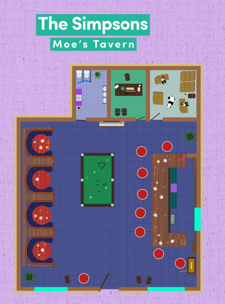 tv floorplans how the apartments in your favourite shows are the simpsons moe s tavern