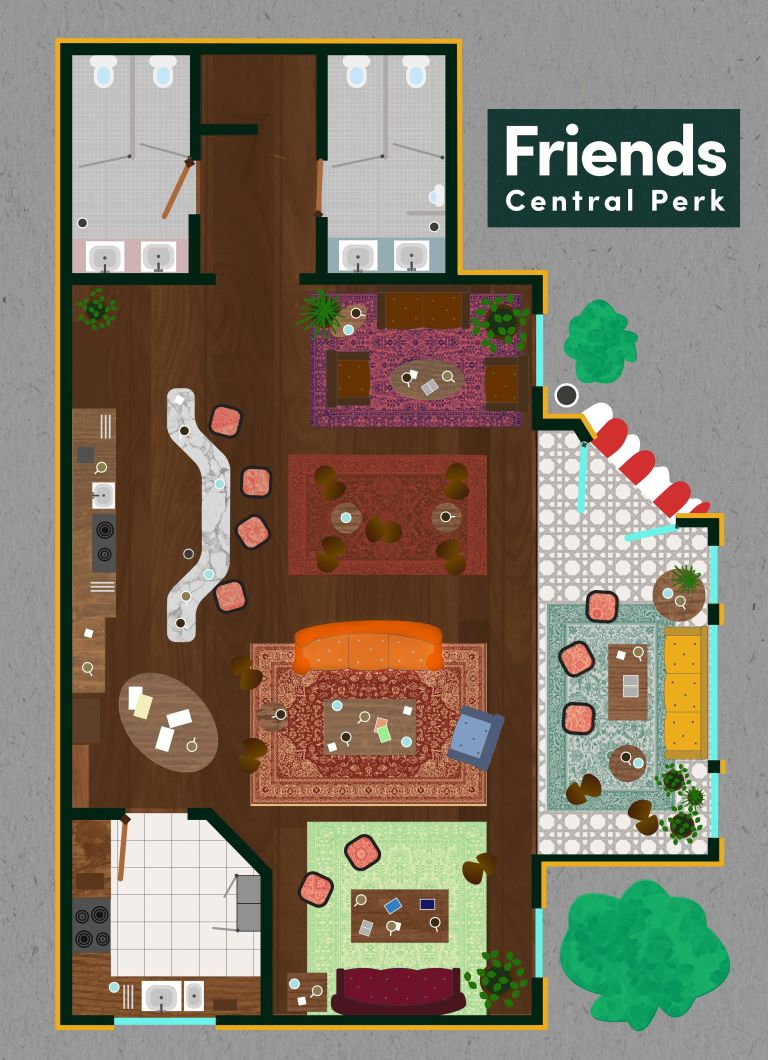 tv floorplans how the apartments in your favourite shows are friends central perk floorplan
