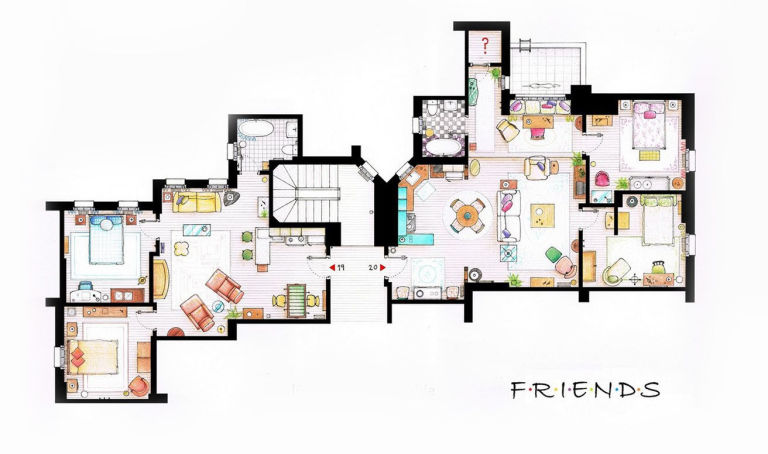 Tv floorplans how the apartments in your favourite shows are tv floor plans friends malvernweather Image collections