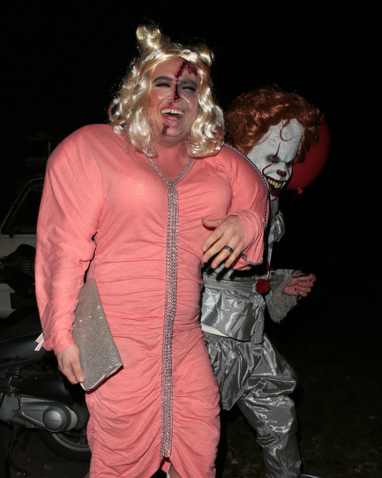 Alan Carr seen attending Jonathan Rossu0027 Halloween party on October 31 2017 in London & Alan Carru0027s Gemma Collins Halloween costume is INCREDIBLE