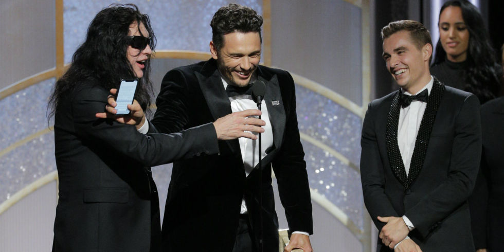 James franco stopped the rooms tommy wiseau taking a live golden james franco with tommy wiseau and dave franco at the golden globes 2018 m4hsunfo