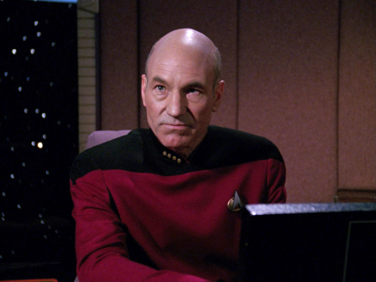 Patrick Stewart as Captain Jean-Luc Picard in the STAR TREK: THE NEXT GENERATION episode, 'Hollow Pursuits.