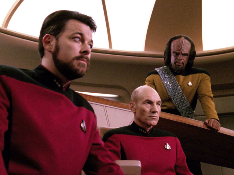 Jonathan Frakes as Commander William T. Riker, Patrick Stewart as Captain Jean-Luc Picard and Michael Dorn as Lieutenant Worf in the STAR TREK: THE NEXT GENERATION
