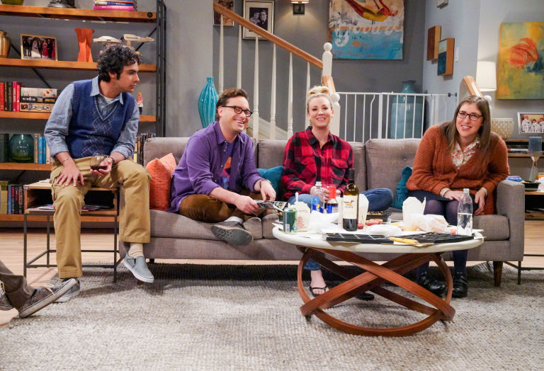 Rajesh Koothrappali (Kunal Nayyar), Leonard Hofstadter (Johnny Galecki), Penny (Kaley Cuoco) and Amy Farrah Fowler (Mayim Bialik). When Bernadette won't go into labor, all her friends try different tactics to get things started